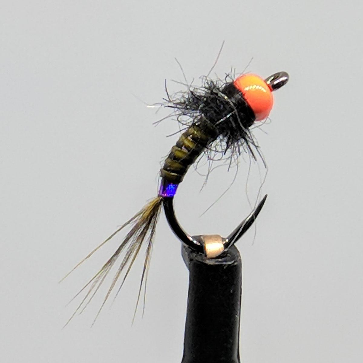 Purple Zebra Midge Nymph Fly with wing  sz 22 GO TO  PATTERN